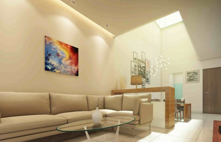 Living & Dining space with natural skylight roof