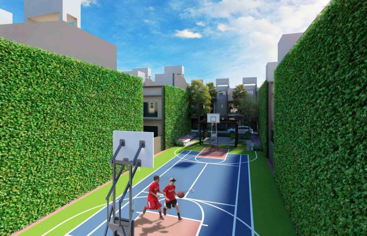 Multipurpose court with yoga lawn