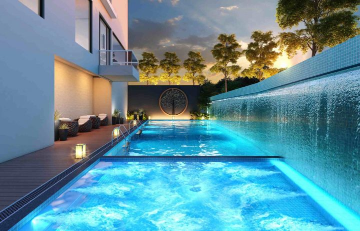 Swimming pool with attached kids pool & Jacuzzi
